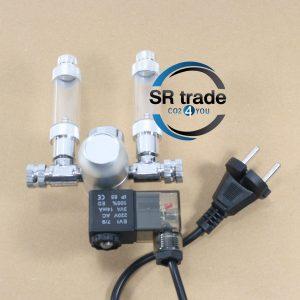 CO2 regulator med manometer og magnetventil