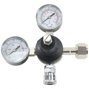 Reduktionsventil med to manometre Lynkobling